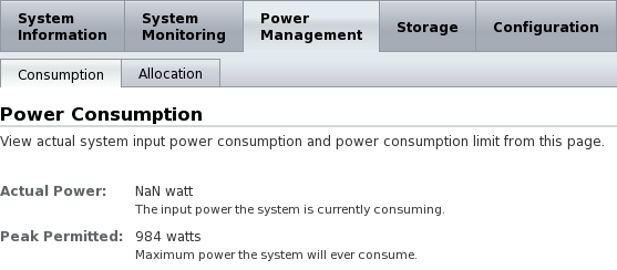 ILOM Power Consumption: Actual Power