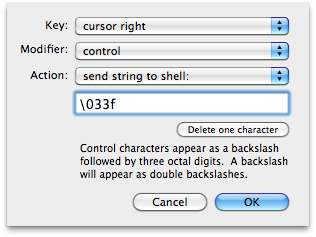 Terminal preferences: changing shortcut